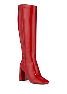 Prada Square-Toe Patent Tall Boots
