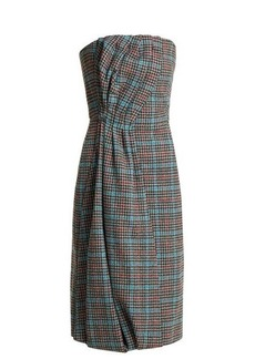 Prada Strapless houndstooth wool-blend dress