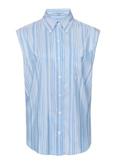Prada Striped Silk-Poplin Top