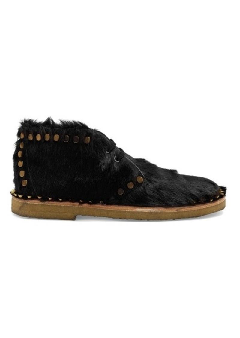 Prada Stud-embellished calf-hair ankle boots
