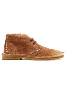 Prada Stud-embellished calf-hair desert boots
