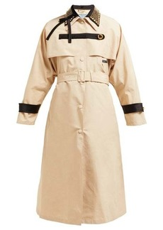 Prada Stud-embellished cotton-blend trench coat