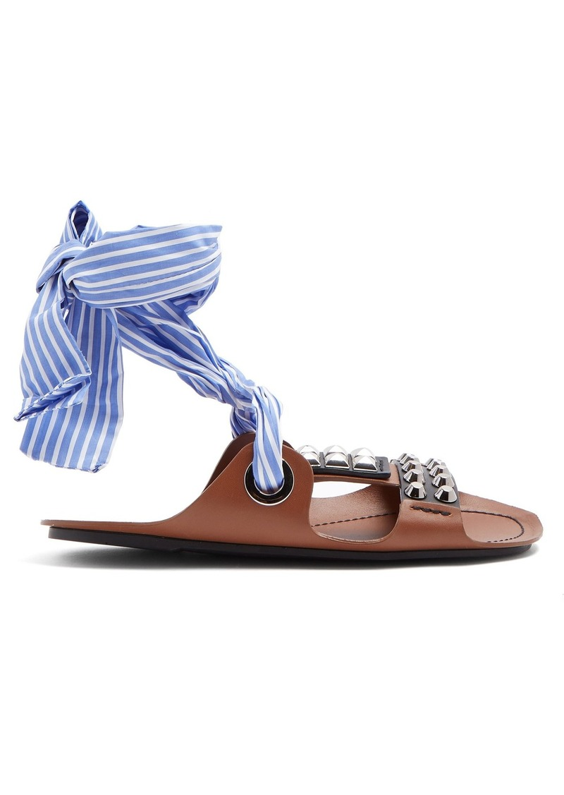 Prada Stud-embellished leather wrap sandals