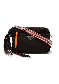 Prada Stud-embellished nylon cross-body bag