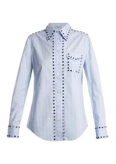 Prada Stud-trimmed checked cotton shirt