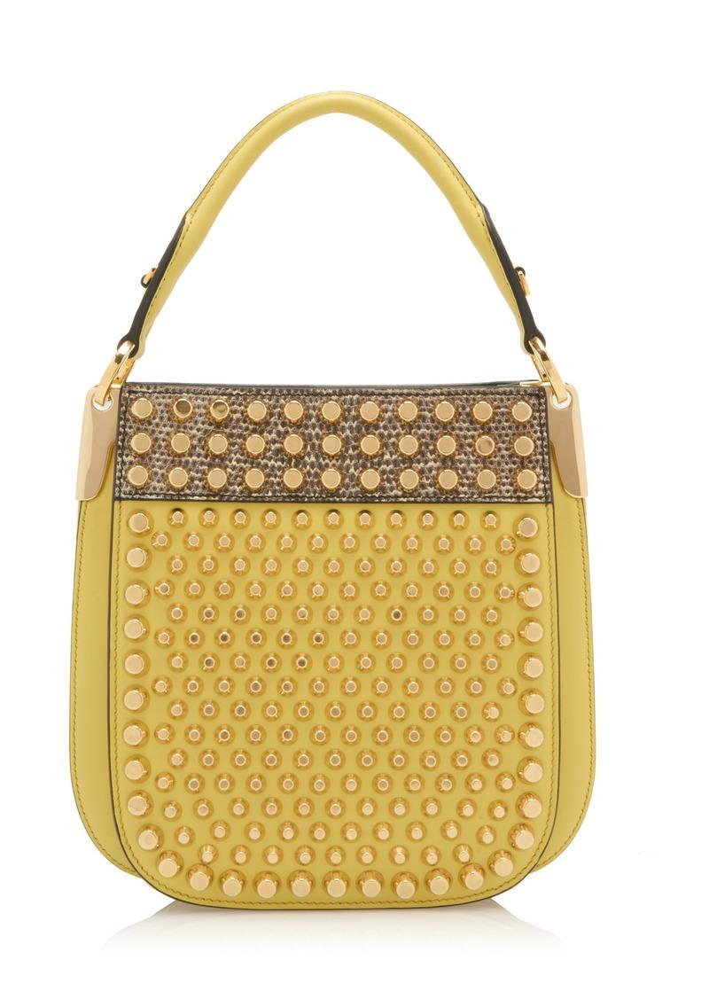f048b0e38f377f Prada Prada Studded City Calf and Lizard Margit Bag | Handbags