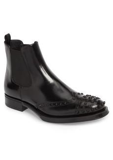 Prada Studded Wingtip Chelsea Boot (Men)