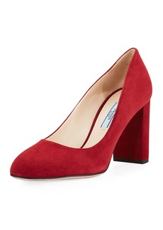 Prada Suede Block-Heel 85mm Pump