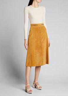 Prada Suede Snap-Front A-Line Skirt