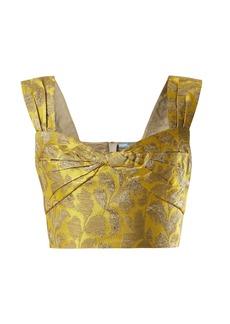 Prada Sweetheart-neck floral-brocade top