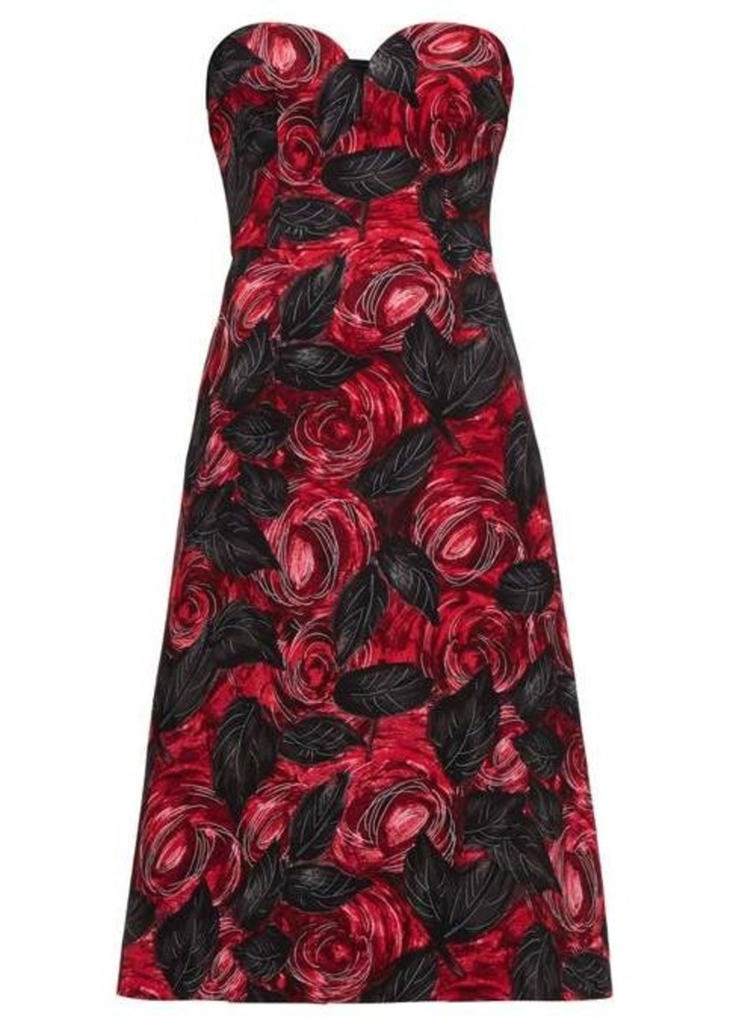 Prada Sweetheart-neckline rose-print cady dress
