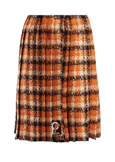 Prada Tartan tweed midi skirt