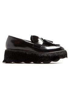Prada Tassel-embellished leather flatform loafers