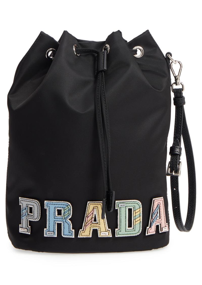 3140f2d9e5f4 Prada Prada Tessuto Pelle Logo Nylon Drawstring Wristlet   Handbags