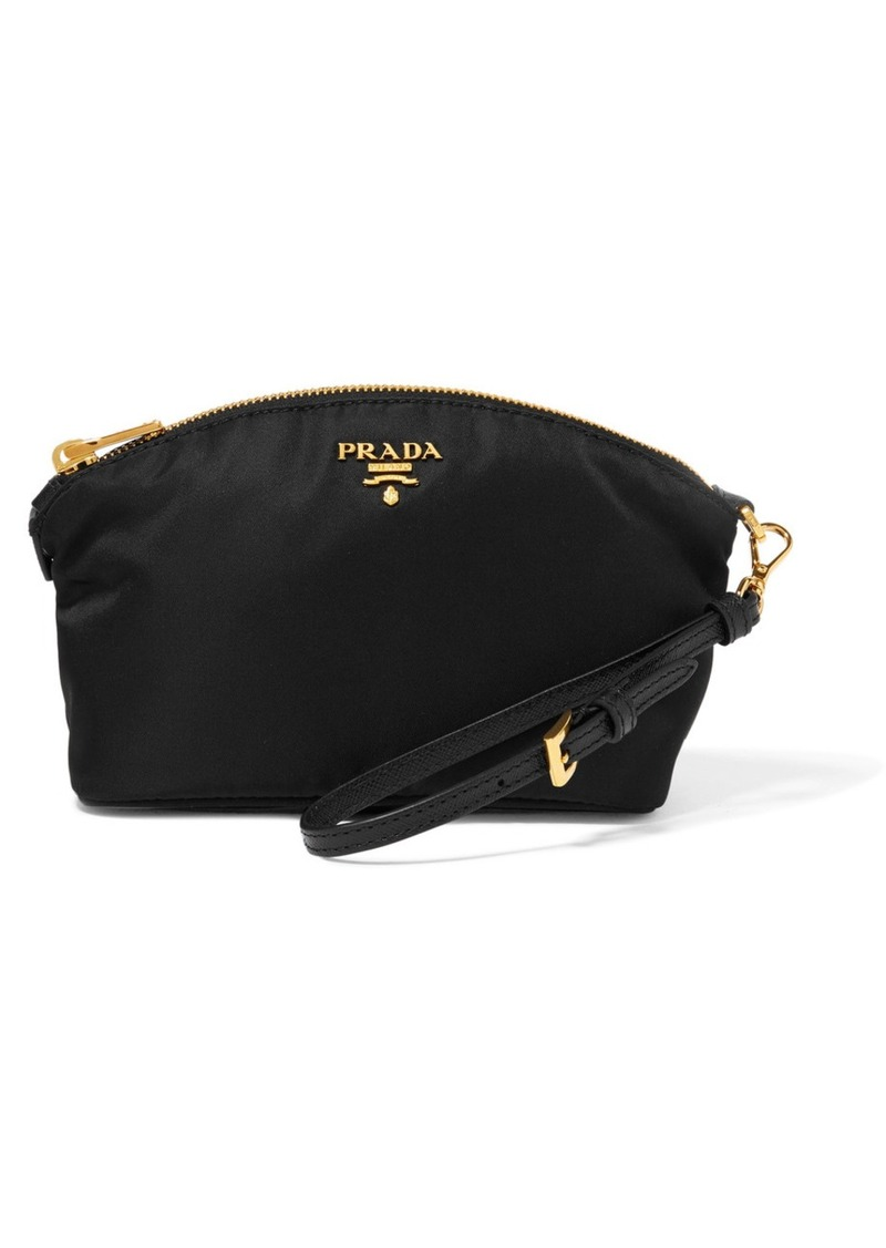 On Sale today! Prada Prada Textured leather-trimmed shell cosmetics case d72a1466460f4