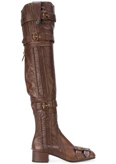 Prada thigh-high buckle boots - Brown