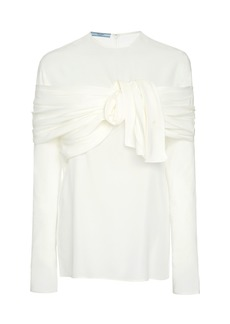 Prada Tie-Detailed Crepe De Chine Blouse