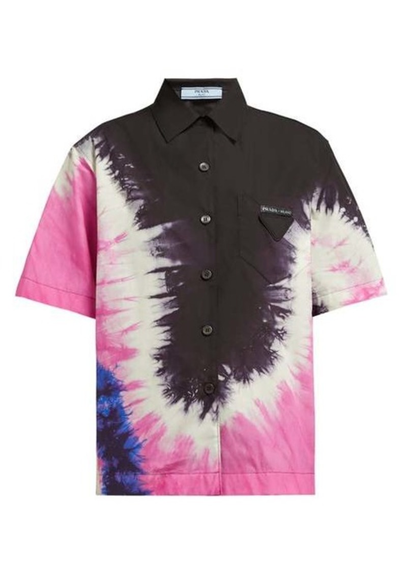 Prada Tie-dye collared cotton-poplin shirt