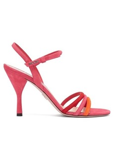 Prada Trio-strap slingback suede and leather sandals