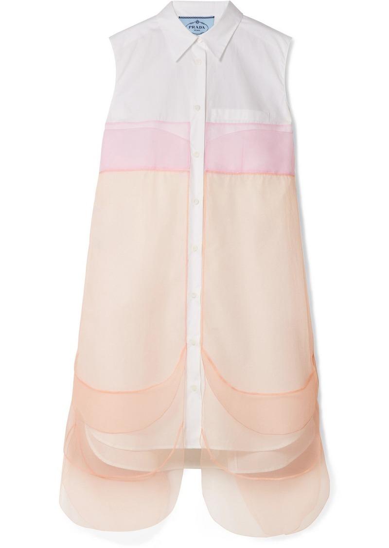 Prada Tulle-paneled Cotton-poplin Mini Dress