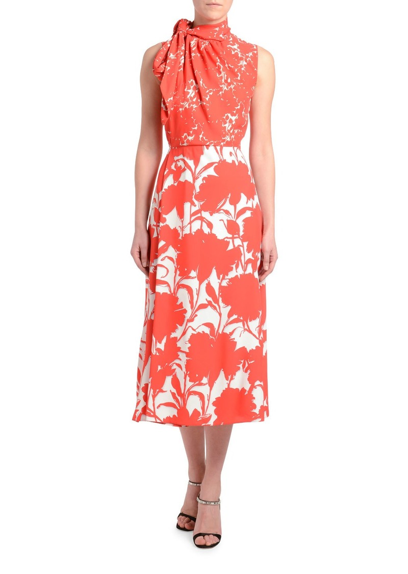 Prada Twill Floral Shadow Sleeveless Dress