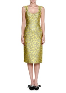 Prada Twist-Front Lamé Brocade Dress