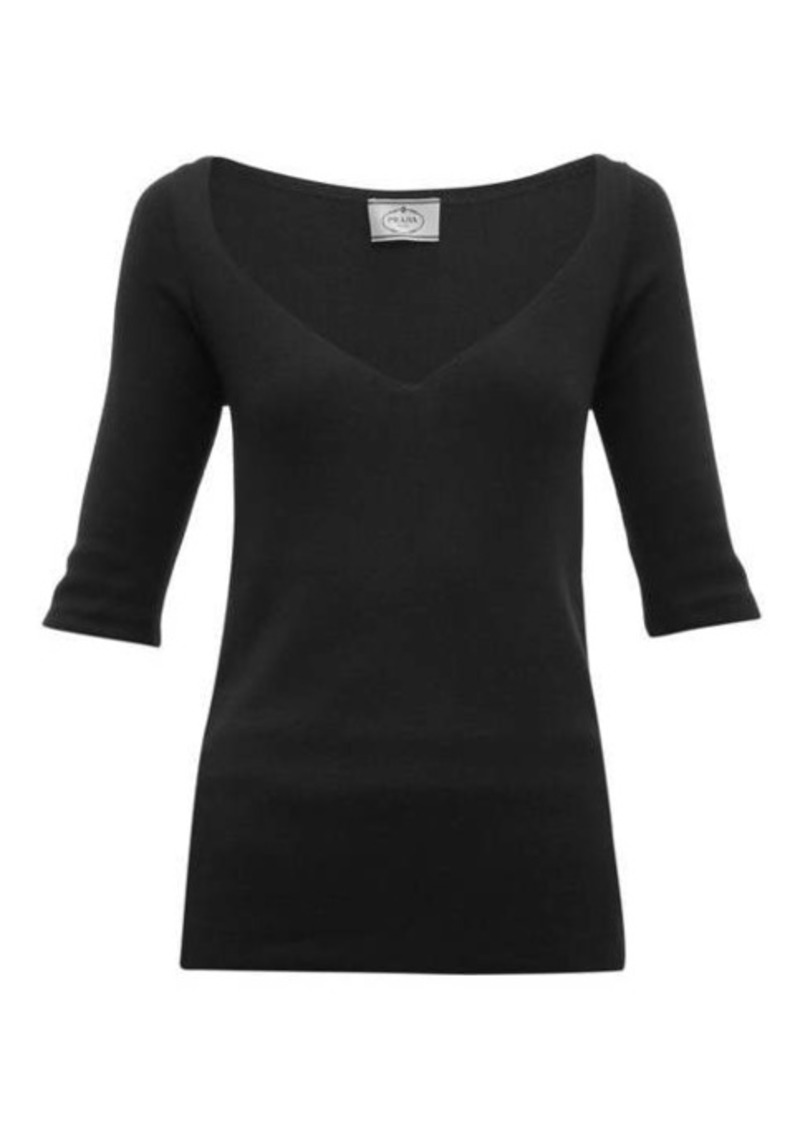 Prada V-neck cashmere-blend sweater