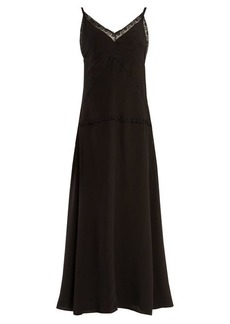Prada V-neck lace-trimmed silk slip dress