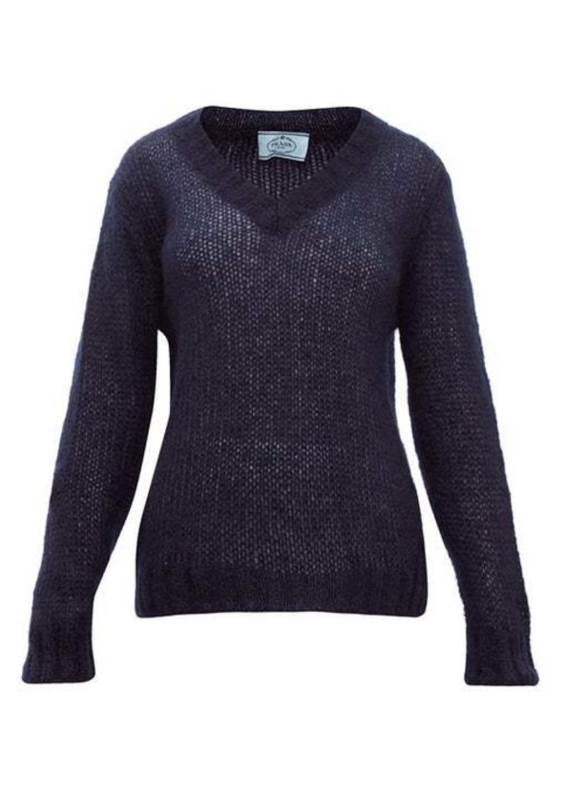 Prada V-neck mohair-blend sweater