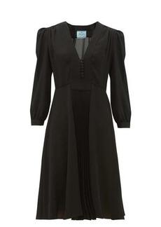 Prada V-neck pleated silk-crepe dress