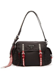 Prada Vela leather-trimmed cross-body bag