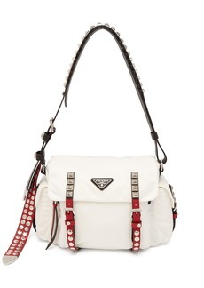 Prada Vela leather-trimmed cross-body bag