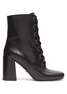 Prada Velvet lace-up leather ankle boots