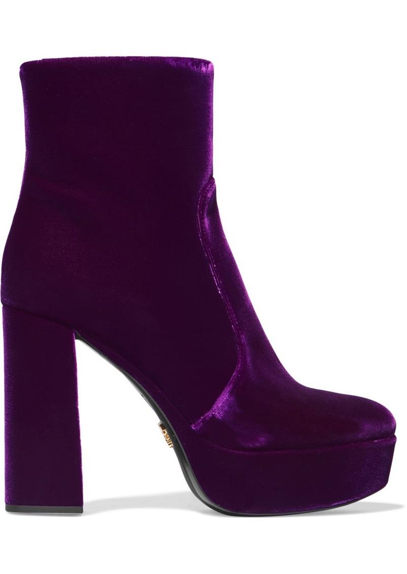 10bf7a453f72 On Sale today! Prada Velvet Platform Ankle Boots