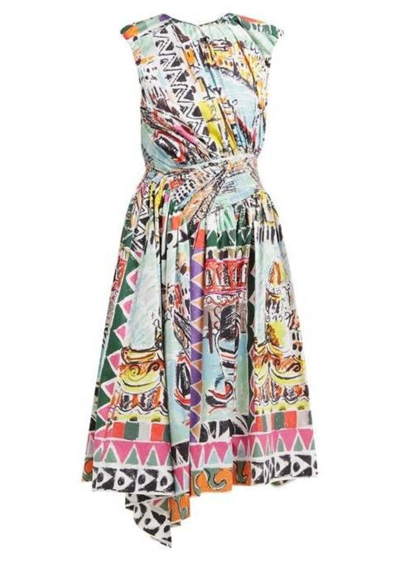 Prada Venice Postcard-print cotton midi dress