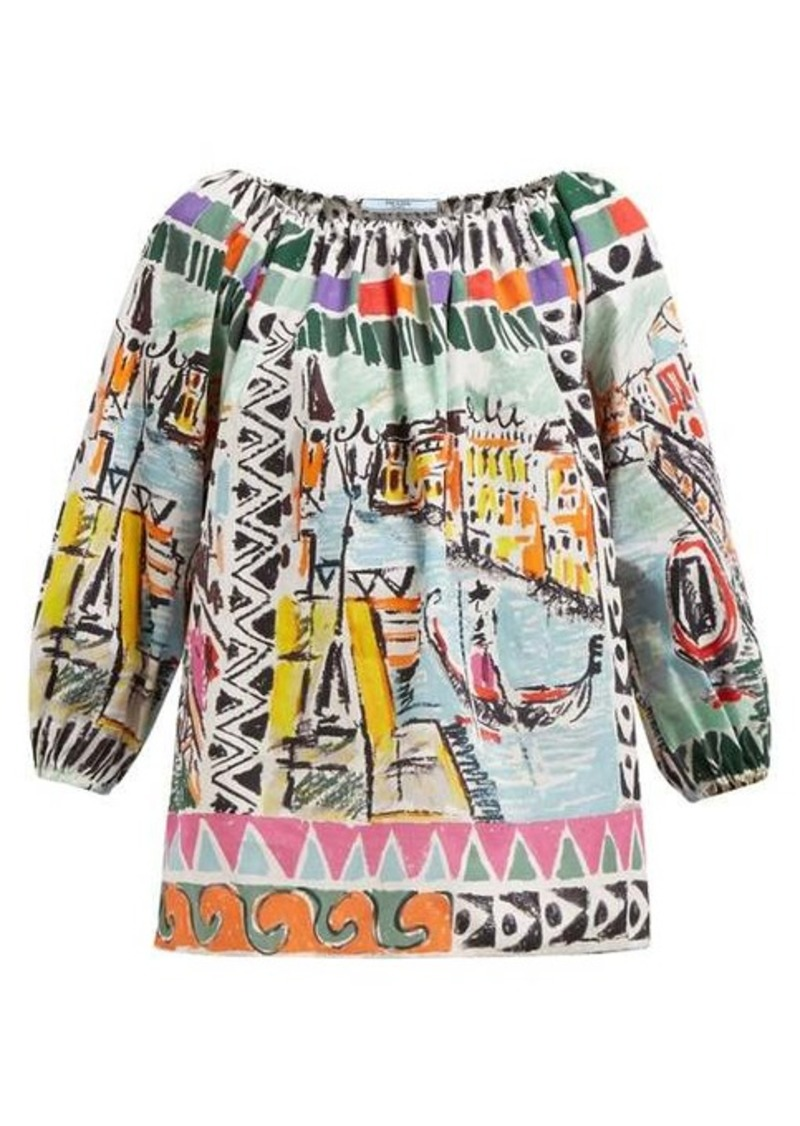 Prada Venice-print gathered cotton-poplin blouse