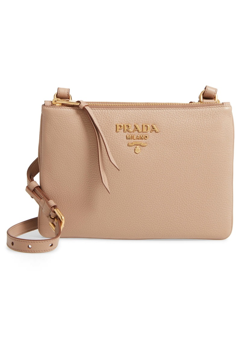 Prada Vitello Daino Double Compartment Leather Crossbody Bag