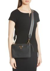 84fd4f0063c9 Prada Prada Vitello Daino Double Compartment Leather Crossbody Bag ...