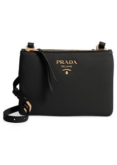 Prada Daino Double Compartment Leather Crossbody Bag