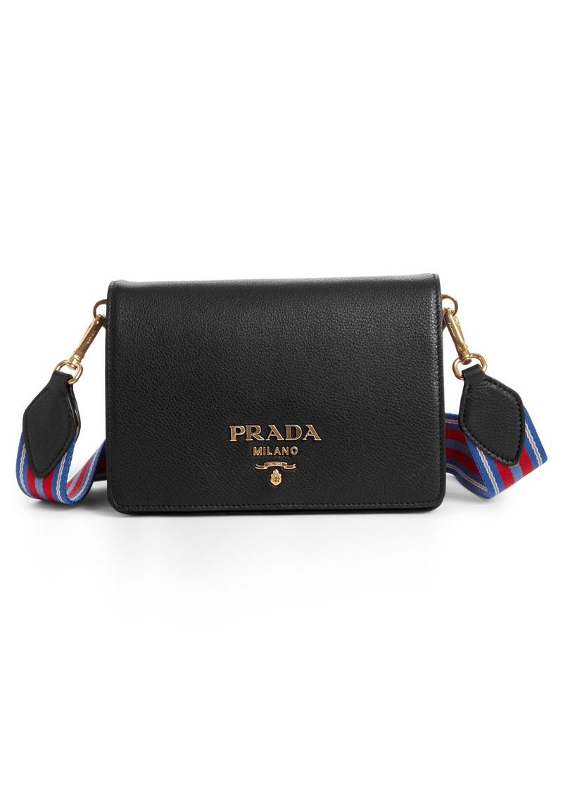 7d8674632c0d ... cheapest prada vitello daino double compartment leather shoulder bag  b0bba a1035