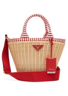 Prada Wicker and canvas basket bag