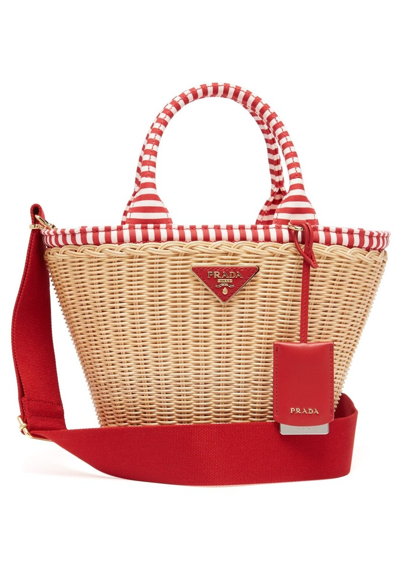 5dc83f1ccb1f28 Prada Prada Wicker and canvas basket bag | Handbags