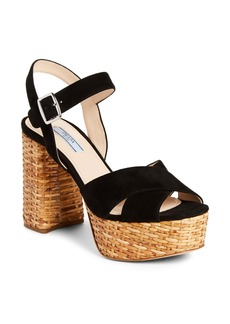 Prada Wicker Platform Sandal (Women)