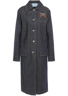 Prada Woman Appliquéd Denim Coat Dark Denim