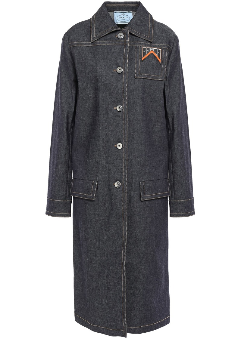 Prada Woman Appliquéd Denim Coat Dark Denim