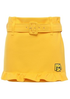 Prada Woman Appliquéd Ruffle-trimmed Scuba Mini Skirt Marigold