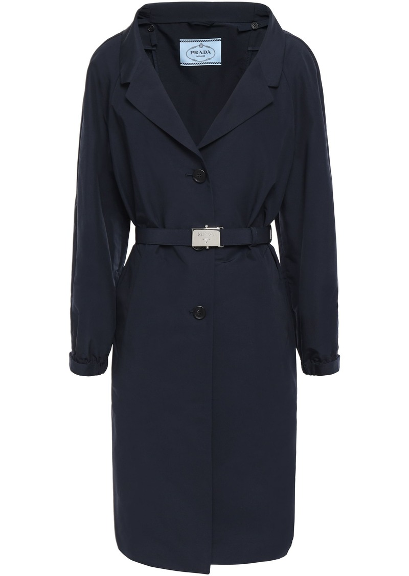 Prada Woman Belted Cotton-blend Coat Midnight Blue