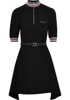 Prada Woman Belted Draped Crepe De Chine Mini Dress Black
