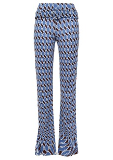 Prada Woman Belted Printed Jersey Straight-leg Pants Blue