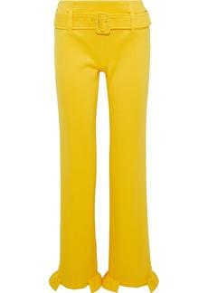 Prada Woman Belted Ruffle-trimmed Scuba Straight-leg Pants Marigold